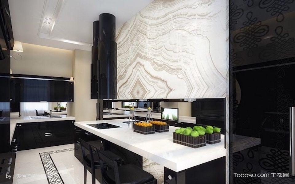 厨房白色吧台古典风格装修设计图片