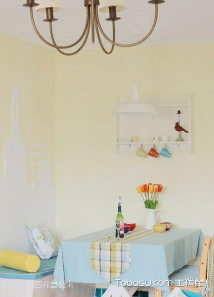 餐厅黄色背景墙混搭风格装潢图片