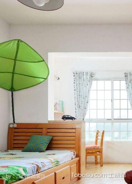 儿童房蓝色窗帘混搭风格装修设计图片