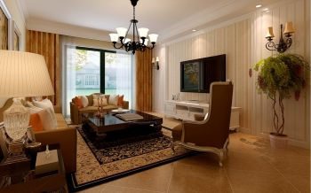 祥源广场三室两厅一厨两卫欧式田园风格装修效果图