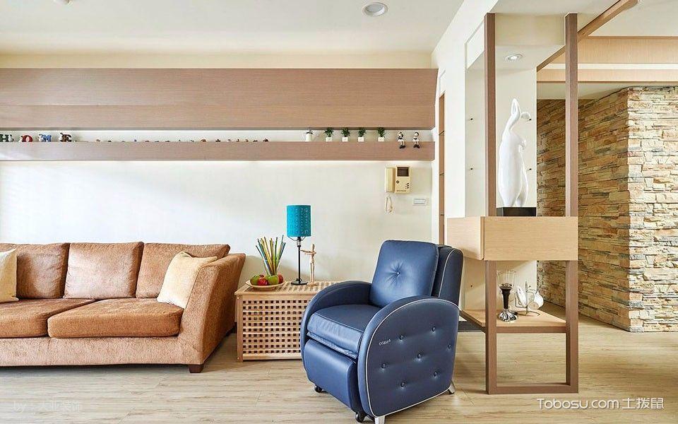 客厅黄色隔断简单风格装潢图片