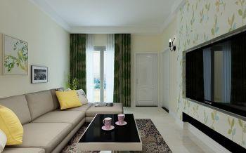 客厅绿色窗帘田园风格装修效果图