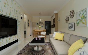 花果园V区100平米田园风格三居室彩色装修效果图