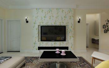 客厅黑色茶几田园风格装潢效果图