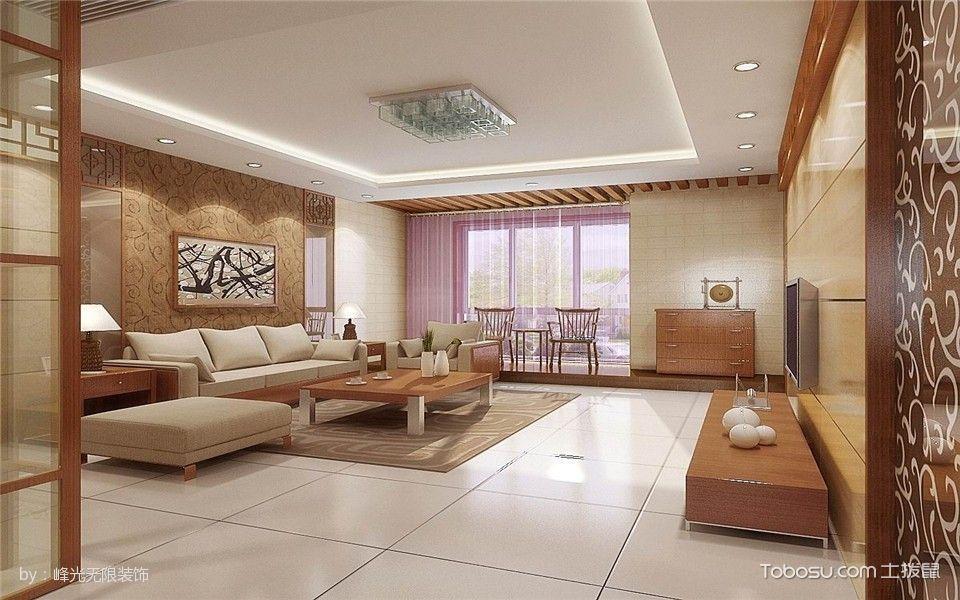 客厅白色地板砖中式风格装潢设计图片