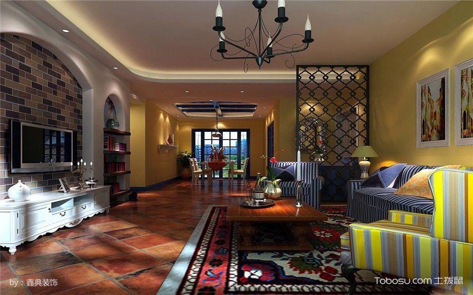 客厅彩色地板砖地中海风格装修效果图