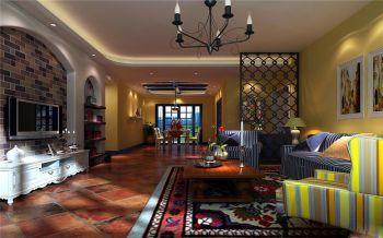 地中海混搭美式风格124平米3房2厅装修效果图
