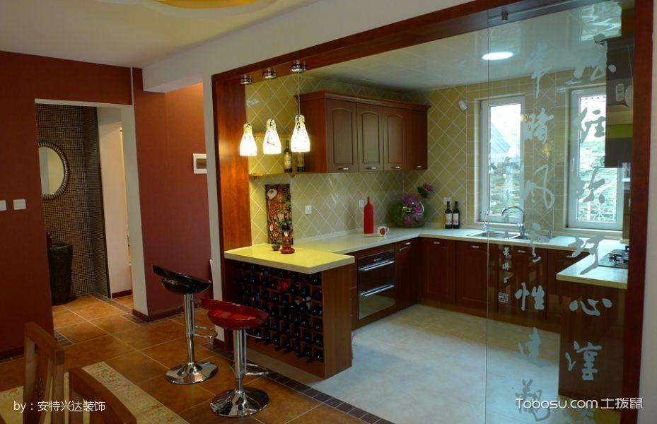 厨房红色隔断现代风格装饰效果图