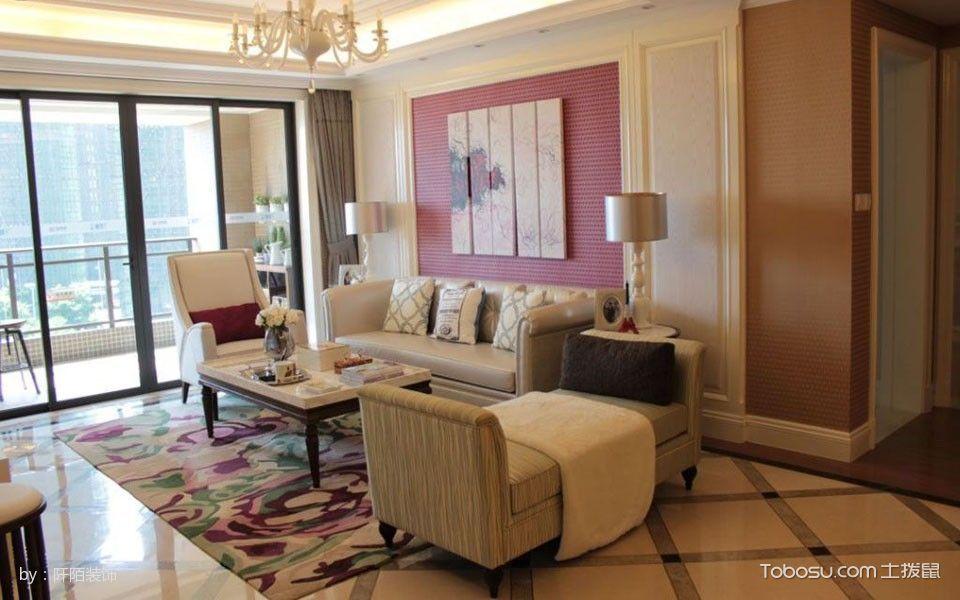 现代欧式时尚风格3室1厅房屋装修效果图