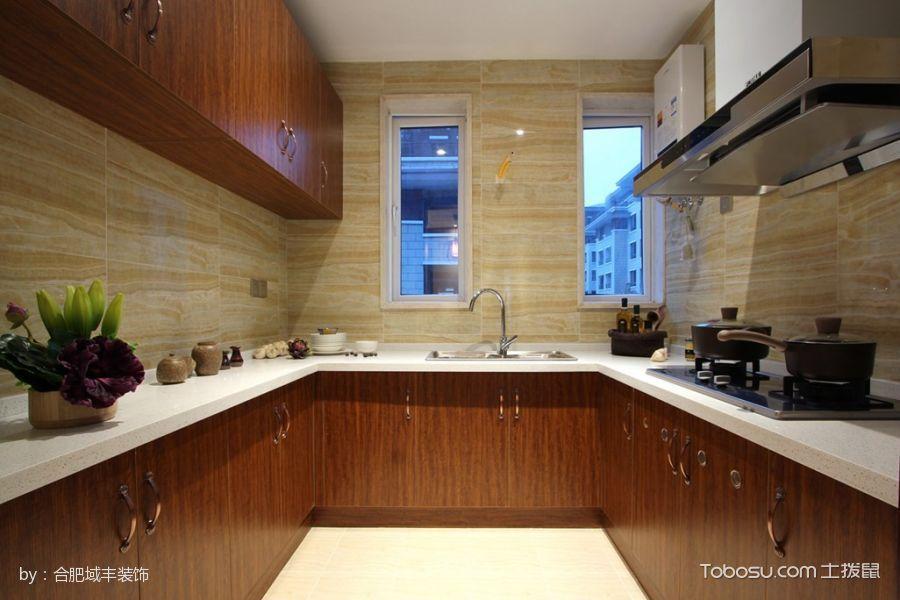 厨房咖啡色橱柜混搭风格装饰效果图