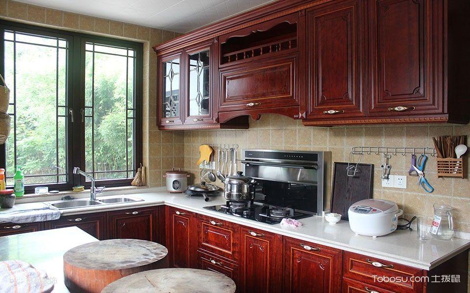 厨房红色橱柜中式风格效果图