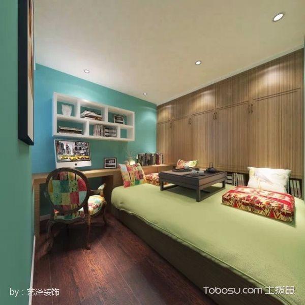 儿童房绿色榻榻米美式风格装修效果图