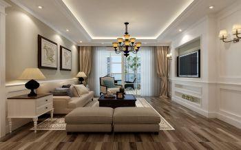 现代美式风格三室一厅129平米装修效果图