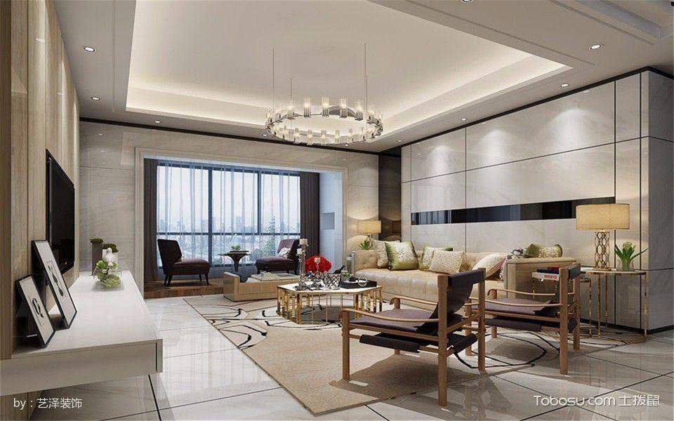 现代简约混搭100平米三室二厅室内装修效果图