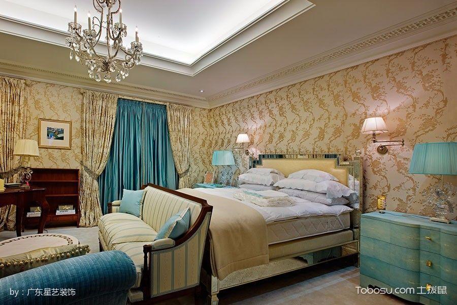 卧室黄色床混搭风格装潢效果图