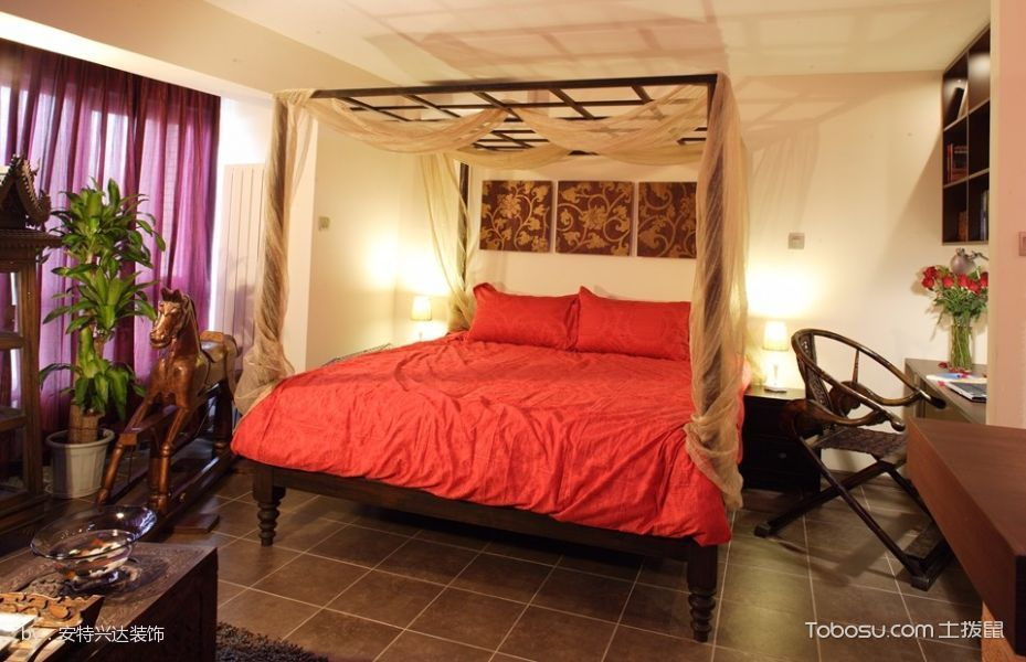 卧室红色床混搭风格装潢图片