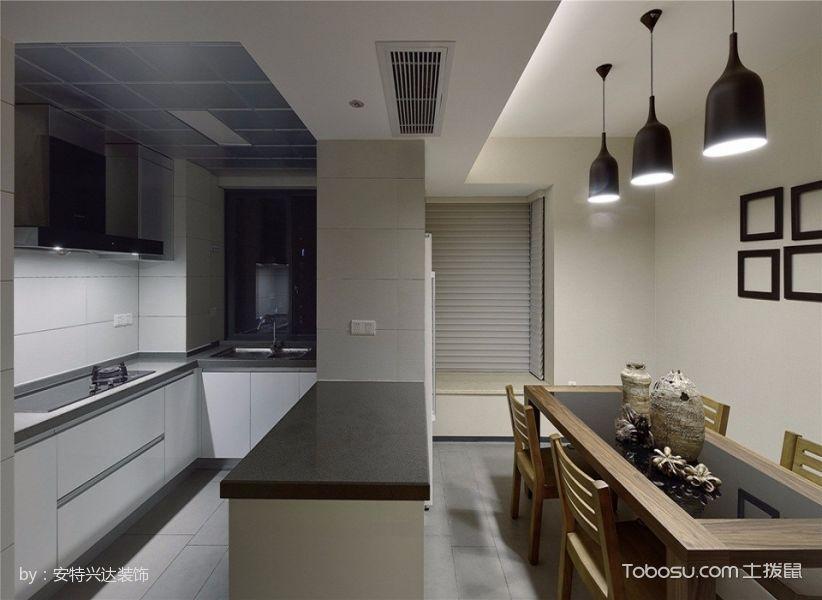 厨房黑色厨房岛台现代风格效果图