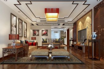 138平米三居室中式风格室内装修效果图