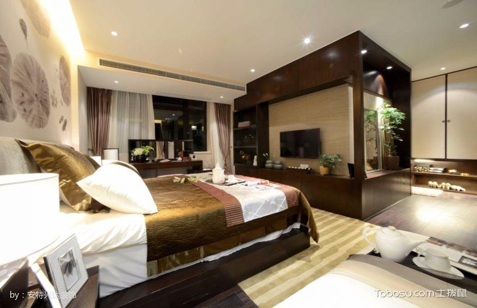 卧室咖啡色床新中式风格装饰效果图