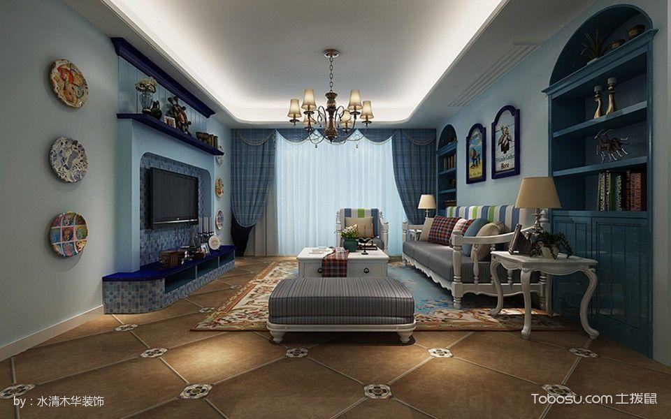 客厅黄色地砖地中海风格装修效果图