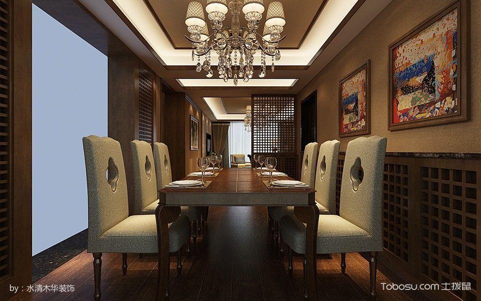 餐厅咖啡色餐桌日式风格装饰效果图