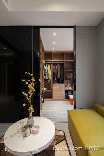 衣帽间黄色衣柜现代简约风格装饰效果图