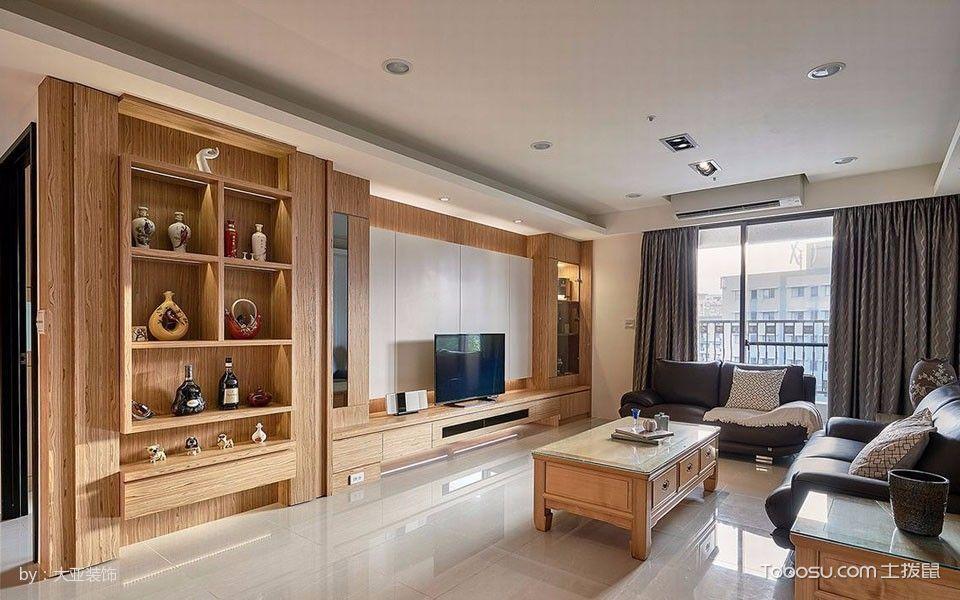 客厅黄色博古架现代风格装饰图片