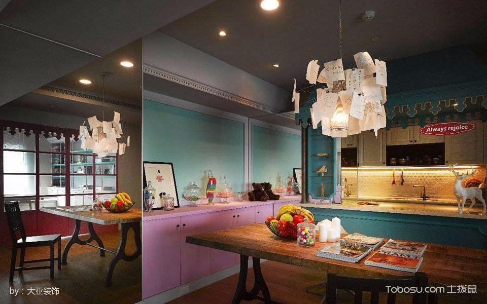 厨房彩色橱柜混搭风格装饰图片