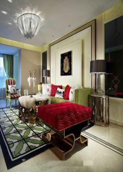 现代时尚古典小90平米二室二厅装修效果图
