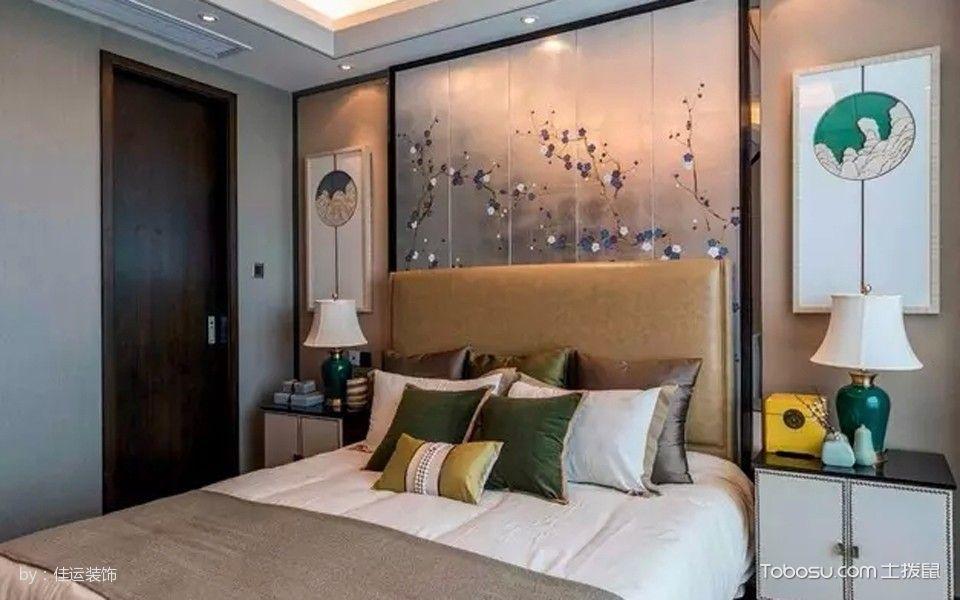 卧室黄色床混搭风格装潢设计图片
