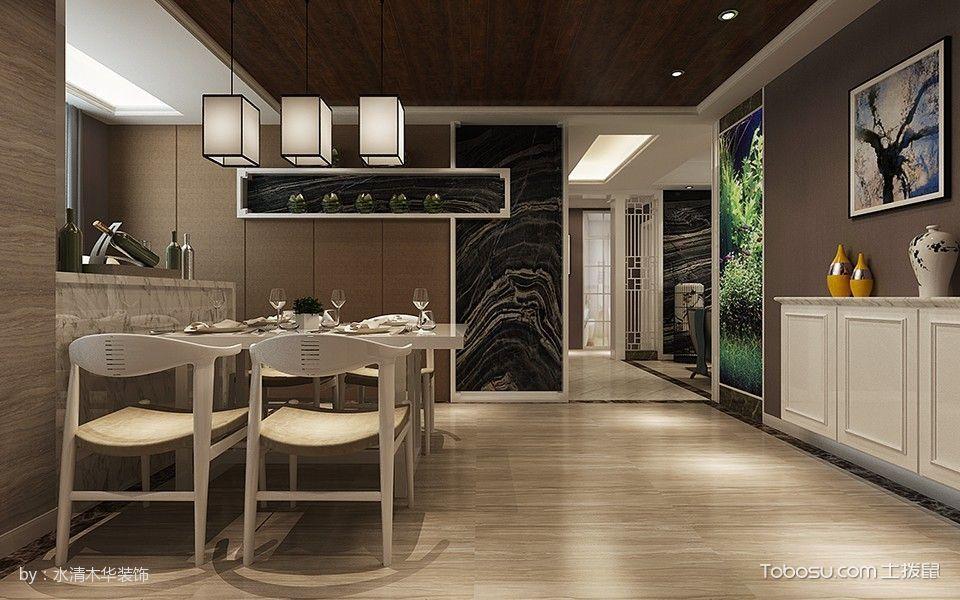 餐厅米色地砖新中式风格效果图