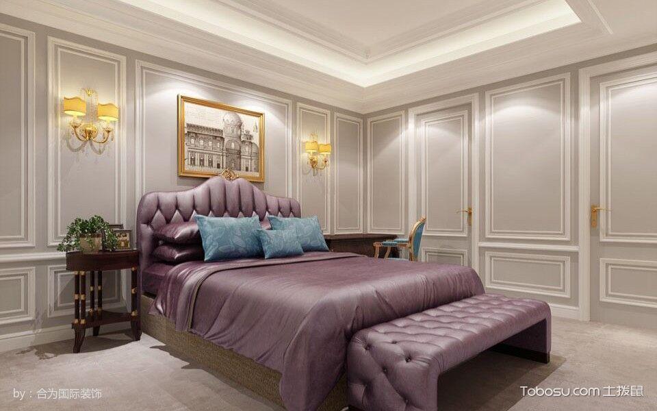 卧室紫色床简欧风格效果图