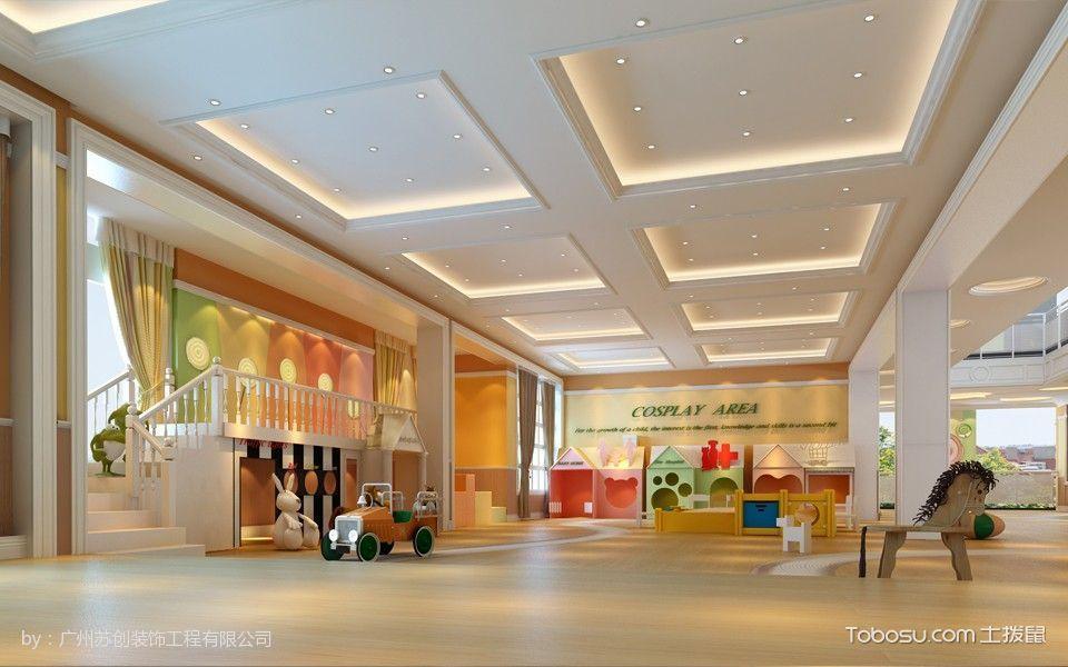 时代糖果幼儿园娱乐区黄色地板装修图片