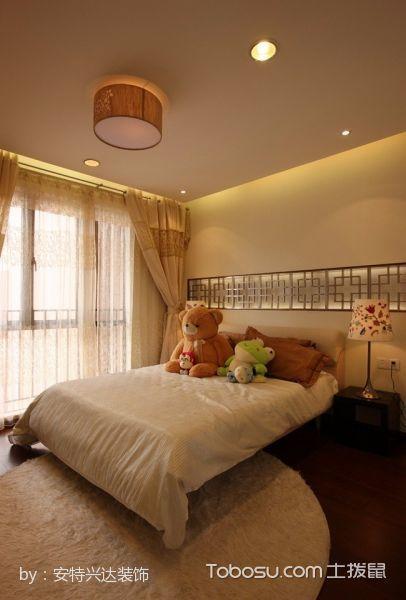 卧室白色床现代中式风格装潢图片