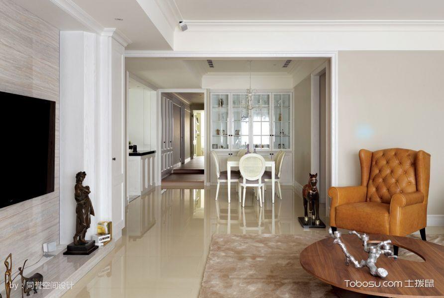 客厅黄色地砖简欧风格装潢图片