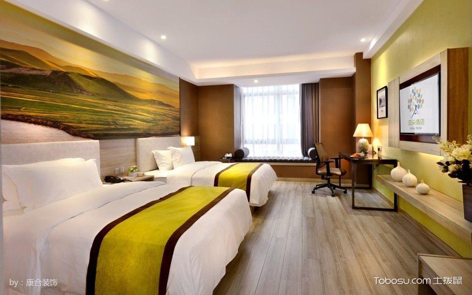 酒店标准间绿色背景墙装修图片