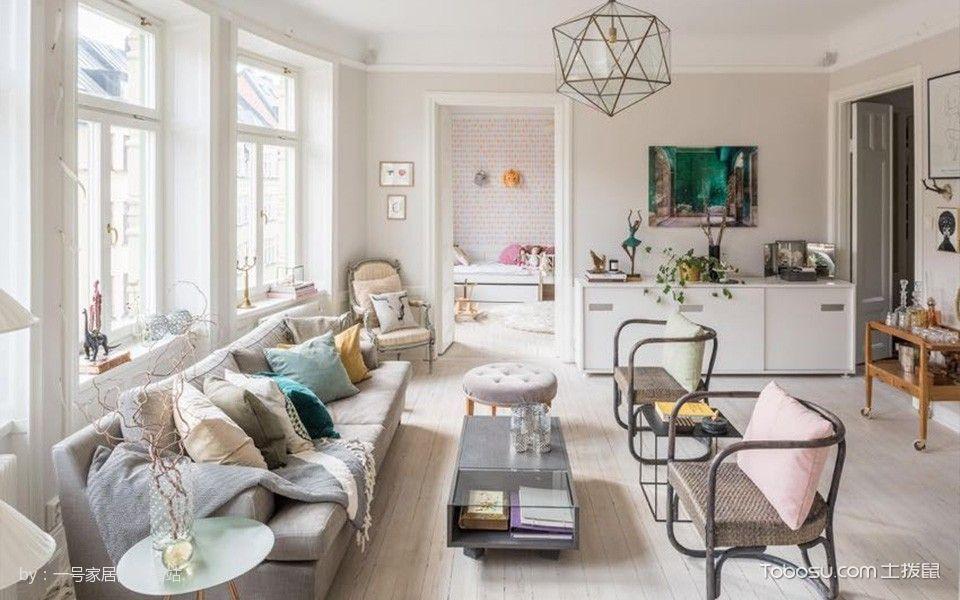 客厅米色沙发北欧风格装潢效果图