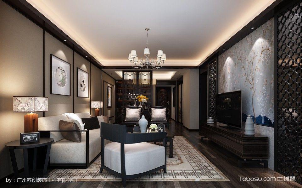 15万珠江俊园新中式混搭120平米2室1厅装修效果图