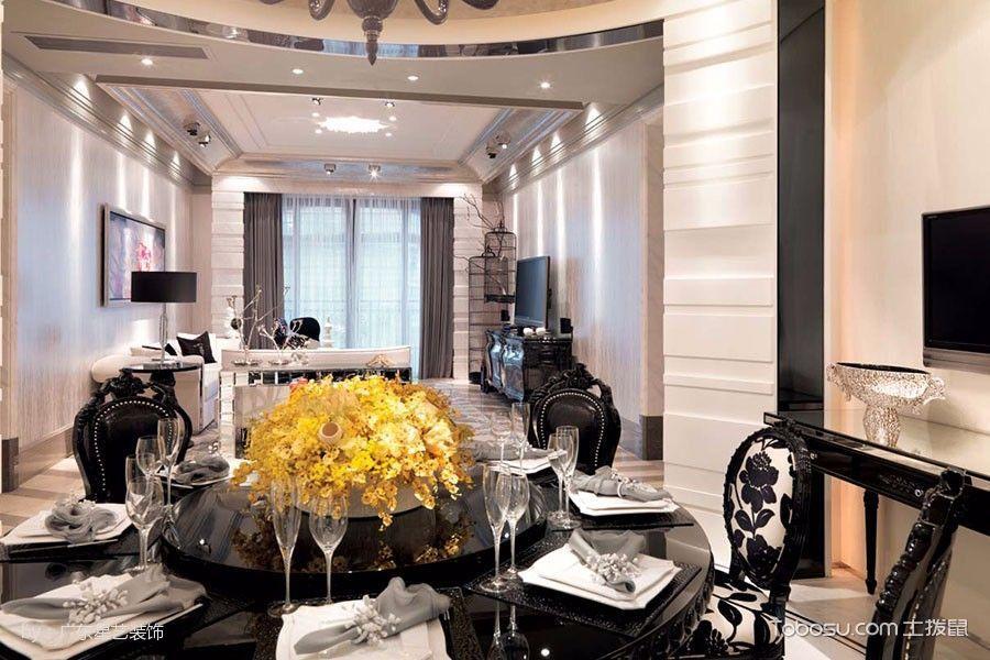 餐厅黑色餐桌古典风格装潢设计图片