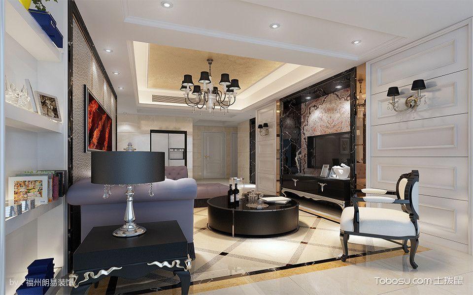 客厅白色地砖简欧风格装饰图片