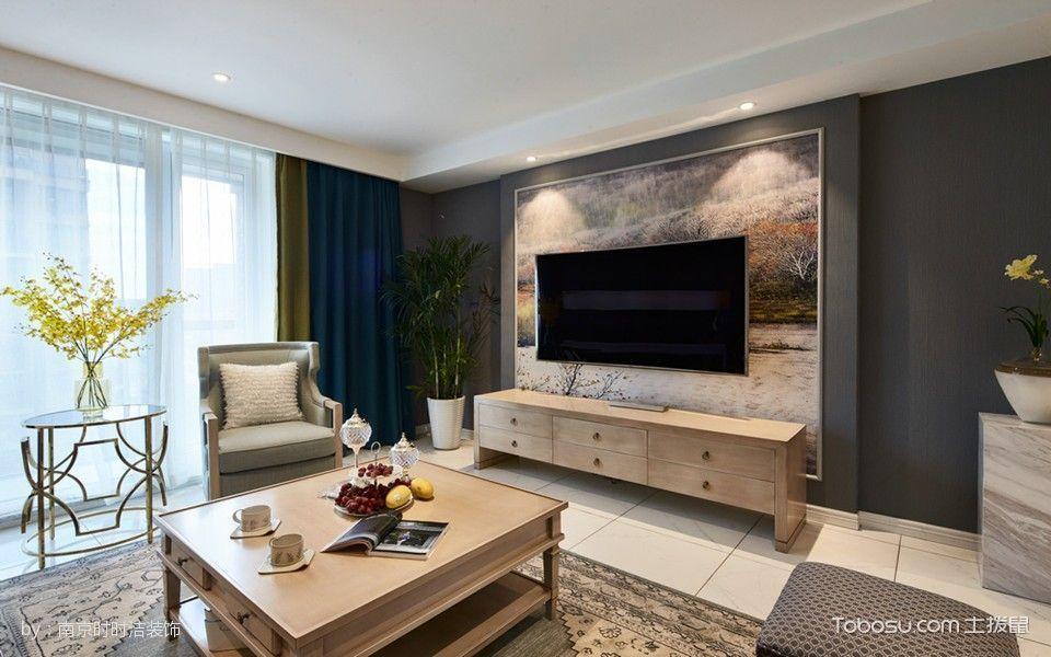 客厅黄色电视柜美式风格装修效果图