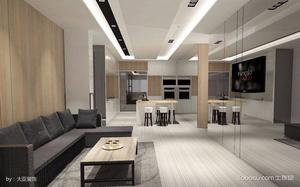 客厅灰色地砖简约风格效果图