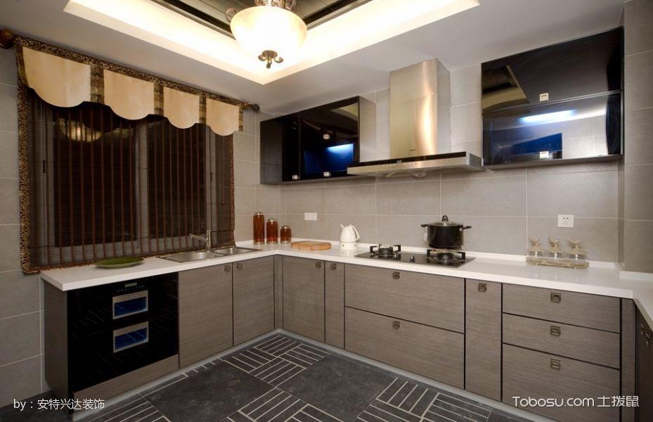 厨房灰色橱柜中式风格装饰图片
