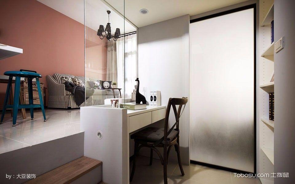 书房白色书桌混搭风格装饰设计图片