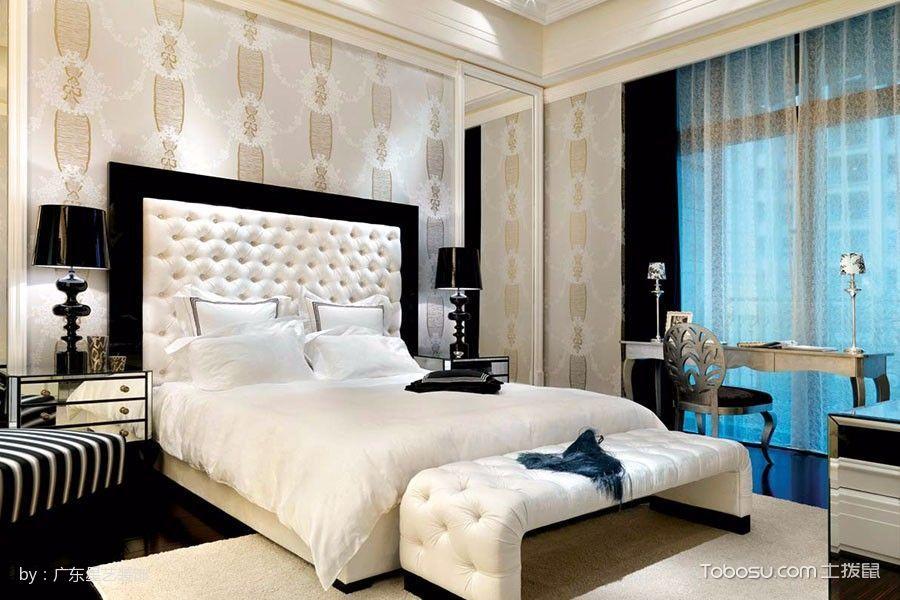 卧室米色床简欧风格装修图片