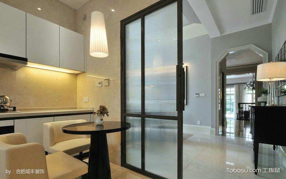 厨房黑色推拉门美式风格装修图片