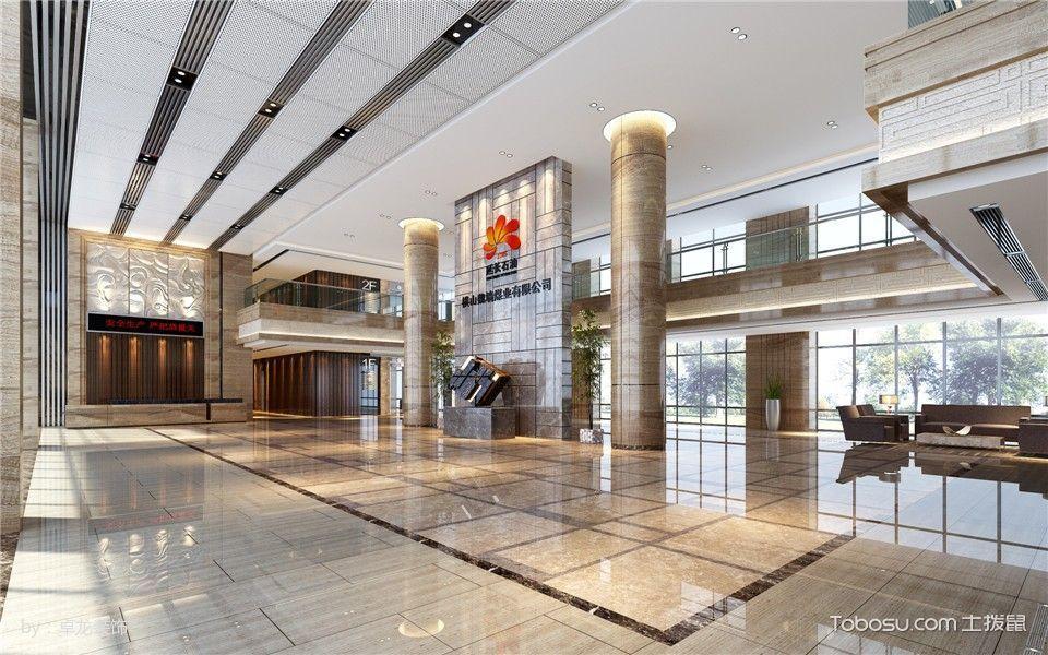 延长石油办公楼大厅白色地板装修图片