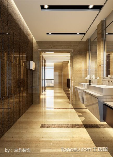 延长石油办公楼洗手间白色梳妆台装修图片