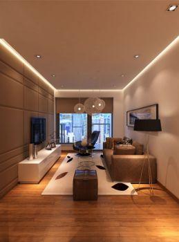 8万咖啡色现代简约二室一厅80平米装修效果图