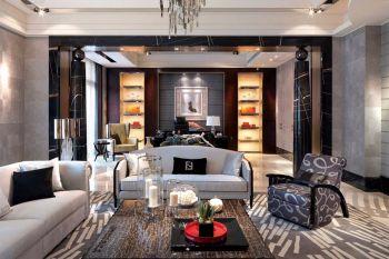 15万涟水园米色现代风格错层家居装修效果图